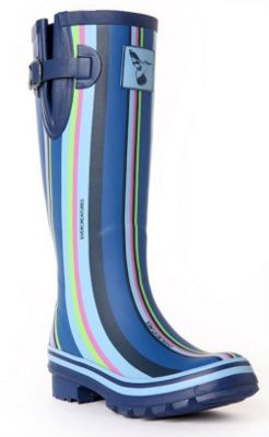 Evercreatures Ladies Funky Wellies Blue Striped Pattern 8