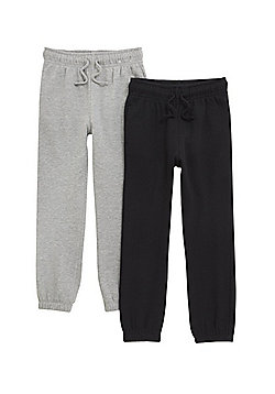 F&F 2 Pack of Joggers with As New Technology - Black & Grey