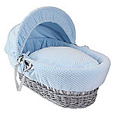 Clair de Lune Grey Wicker Moses Basket (Honeycomb Blue)