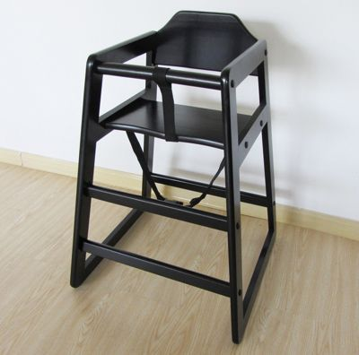 Highchair Wooden Baby Feeding Chair Stack-able (Whc Black)