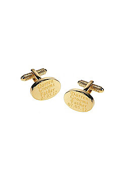 Personalised & Engraved Wedding Cufflinks for the Grooms Father Oval Gold Plated Finish