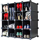 Andrew James Shoe Organiser - 16 Hole Shoe Rack in Black