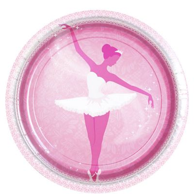 Ballerina Plates - 23cm Paper Party Plates - 8 Pack