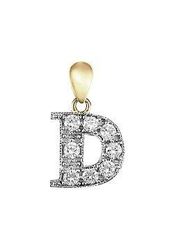 9ct Yellow Gold Cubic Zirconia Initial Charm Identity Pendant - Letter D