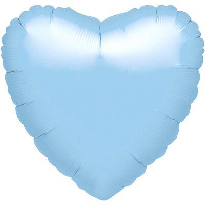 Pastel Blue Heart Balloon - 18 inch Pearl Foil