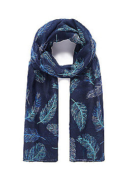 Blue Feather Print Scarf