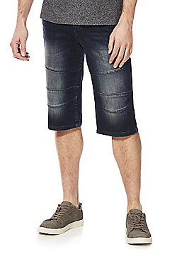 F&F Seamed Panel Denim Shorts - Indigo