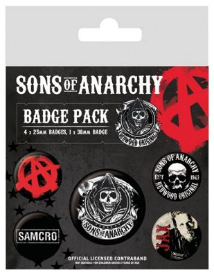 Sons of Anarchy Black SoA Badge Pack 10x12.5cm