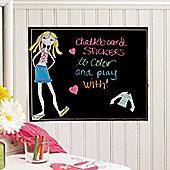 Funky Chick Dress Up Chalkboard Wall Sticker