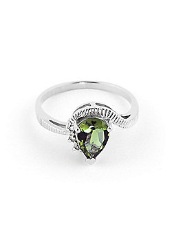 QP Jewellers Diamond & Green Amethyst Belle Diamond Ring in 14K White Gold