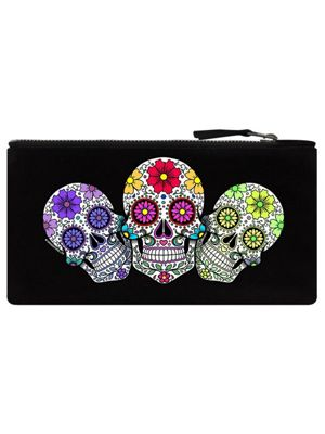Sugar Skull Trio Pencil Case 21x11cm Black