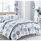 Catherine Lansfield Banbury Floral Eyelet Curtains - Blue