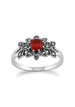 Gemondo 925 Sterling Silver Floral Art Deco Carnelian & Marcasite Ring