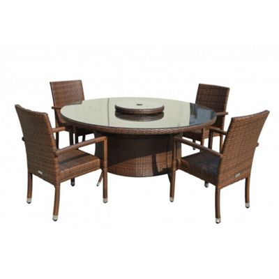 Rio (Armed) 4 Chairs And Large Round Table And Lazy Susan Set in Chocolate Mix