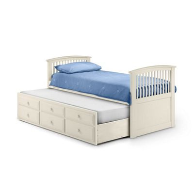 Happy Beds Hornblower Wood Guest Bed and Underbed Trundle - White - 3ft Single