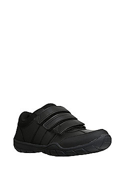 "F&F Riptape Strap Airtred""™ Sole School Shoes - Black"