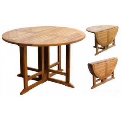 1.2m Gateleg circular Teak garden table