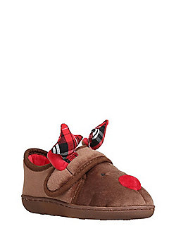 F&F Reindeer Face Closed Back Slippers - Brown