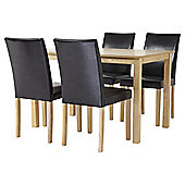Claydon Dining Table and 4 Chair Set, Oak-effect and Chocolate
