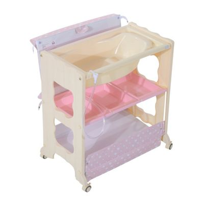 Homcom 3 tier Baby Changing Baby Bath and Dresser w/ Wheels (Pink)
