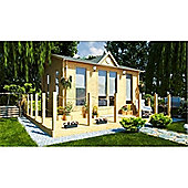 5m x 4m (16ft x 13ft) Amersham Clock Style Wooden Log Cabin Double Glazing (34mm Wall Thickness)