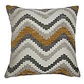 McAlister Soft Chenille Cushion - Yellow and Grey Chevron Design