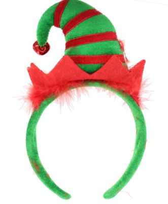 Festive Christmas Elf Red & Green Hat With Bell On Headband Party Accessory
