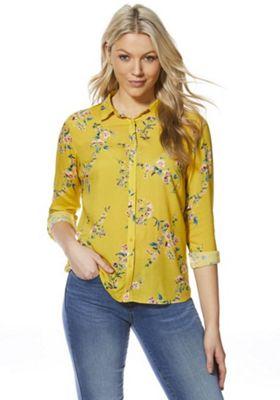 F&F Meadow Floral Print Shirt Yellow Multi 20