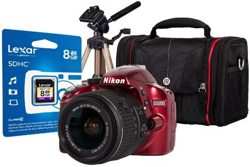 DS Nikon D3200 Red SLR Camera Kit inc 18-55mm VR Lens, 8Gb SD Card, Case & Tripod