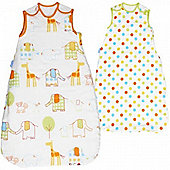 Grobag Twin Pack Hippo Hop & Spot 1 Tog Sleeping Bags - 0-6 Months