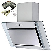 SIA AGL61SS 60cm S/Steel Angled Glass Chimney Cooker Hood Extractor+ 3m Ducting