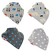 Award Winning, Gift Boxed, Baby Unisex Bandana Dribble Bib 4 pack Arctic Animals by Zippy
