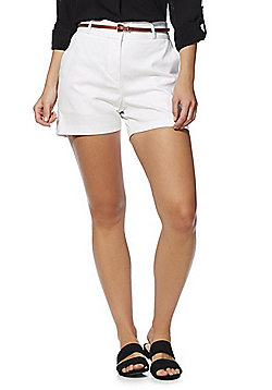 F&F Tailored Shorts with Belt - White
