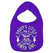 Dirty Fingers Daddy's little Biker Girl Baby Bib Purple