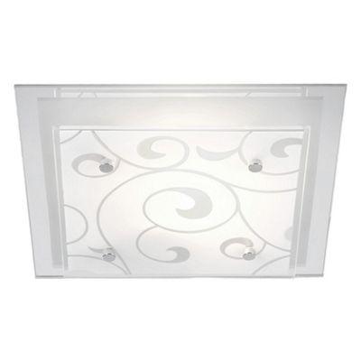 Contemporary Square Double Glass Semi Flush Ceiling Light Fixture - 1 x 60watt