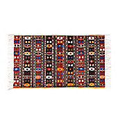 Homescapes Cotton Kilim Printed Rug Terracotta,Black and Brown Design,70 x 120 cm