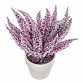 Homescapes Lilac Purple Artificial Heather Potted Plant with Lifelike Petals
