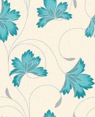 Crown Flourish Azure Wallpaper