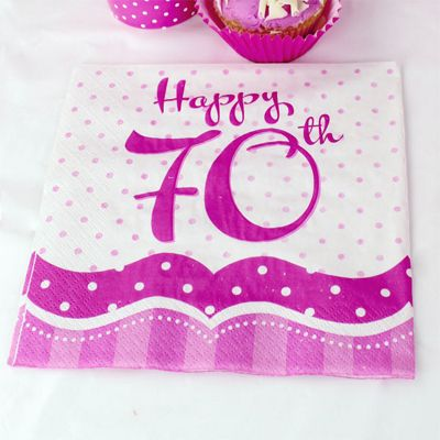 70th Birthday Perfectly Pink Luncheon Napkins - 2ply Paper