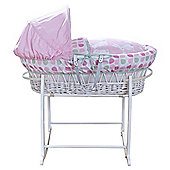 Clair de Lune Bunny White Wicker Moses Basket