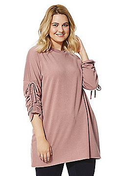 Simply Be Gathered Sleeven Jersey Tunic - Dusty pink