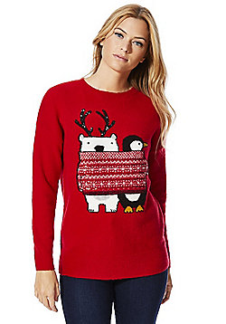 F&F Polar Bear and Penguin Christmas Jumper - Red