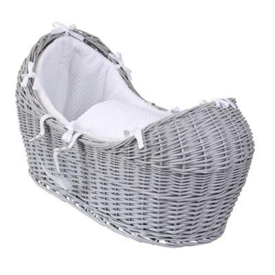 Clair de Lune Grey Noah Pod Moses Basket (Honeycomb White)