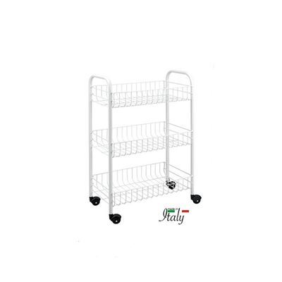 Metaltex Siena 3-Tier Kitchen Trolley Rolling Cart, Epoxy Coated Steel