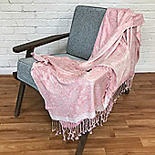 Homescapes Handwoven Jacquard Throw in Traditional Paisley Design, Pink and White