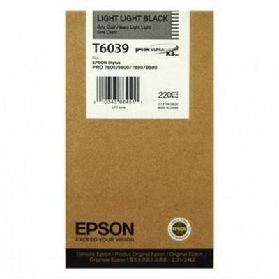 Epson T6039 (220ml) Light Light Black Ink Cartridge for Stylus Pro 7800/7880/9800/9880 Printers