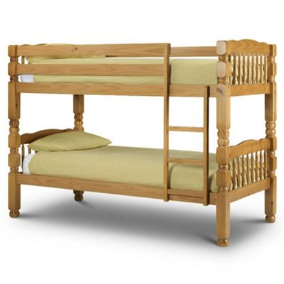 Happy Beds Chunky Wood Kids Bunk Bed with 2 Memory Foam Mattresses - Antique Pine - 3ft Single