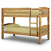 Happy Beds Chunky Antique Solid Pine Wooden Bunk Bed 2 Memory Foam Mattresses 3ft Single