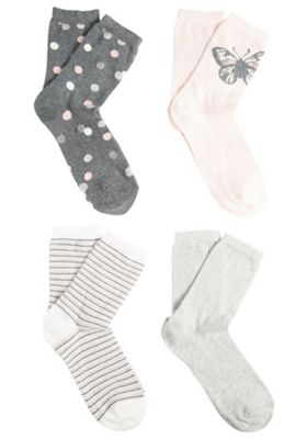 F&F 4 Pair Pack of Spot, Plain, Striped and Butterfly Ankle Socks S-M Pink & Grey