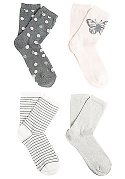 F&F 4 Pair Pack of Spot, Plain, Striped and Butterfly Ankle Socks - Pink & Grey